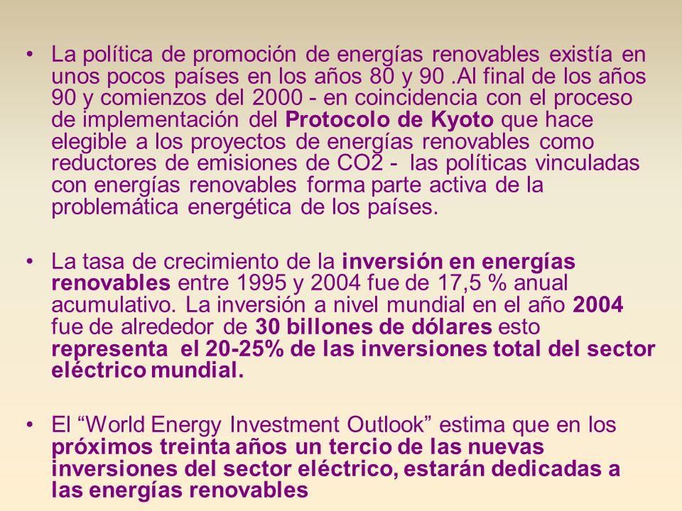 La política de promoción de energías renovables existía en unos pocos países en los años 80 y 90.Al final de los años 90 y comienzos del 2000 - en coi