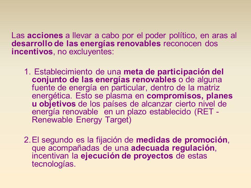 Las acciones a llevar a cabo por el poder político, en aras al desarrollo de las energías renovables reconocen dos incentivos, no excluyentes: 1. Esta