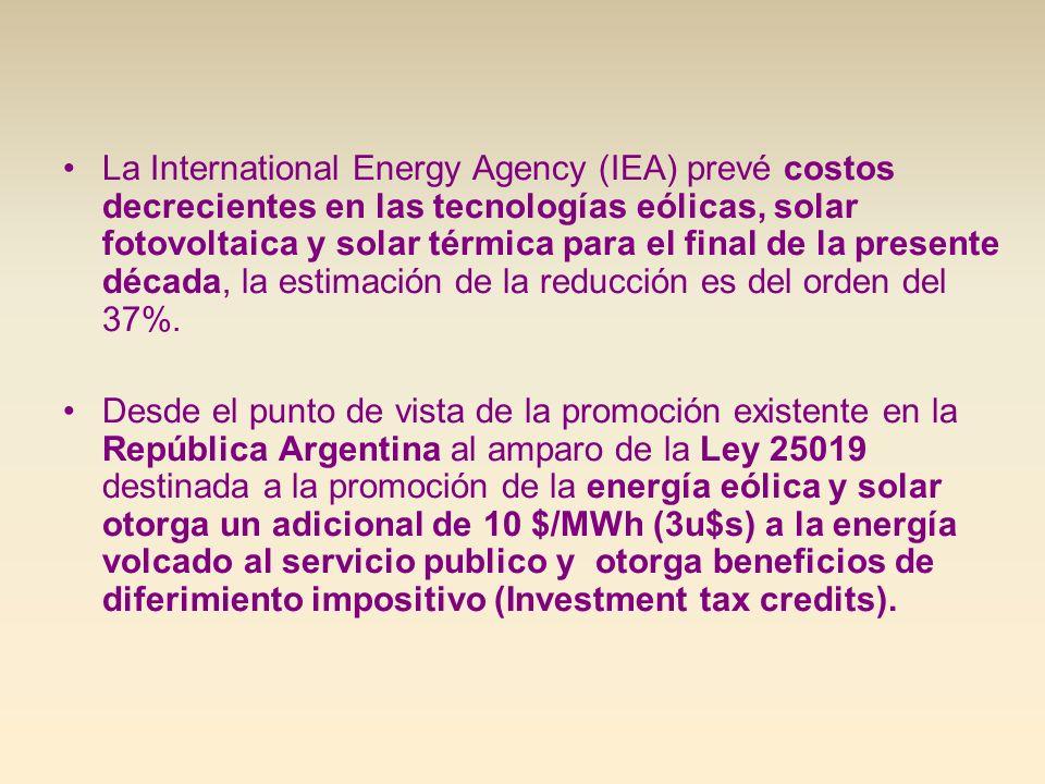 La International Energy Agency (IEA) prevé costos decrecientes en las tecnologías eólicas, solar fotovoltaica y solar térmica para el final de la pres