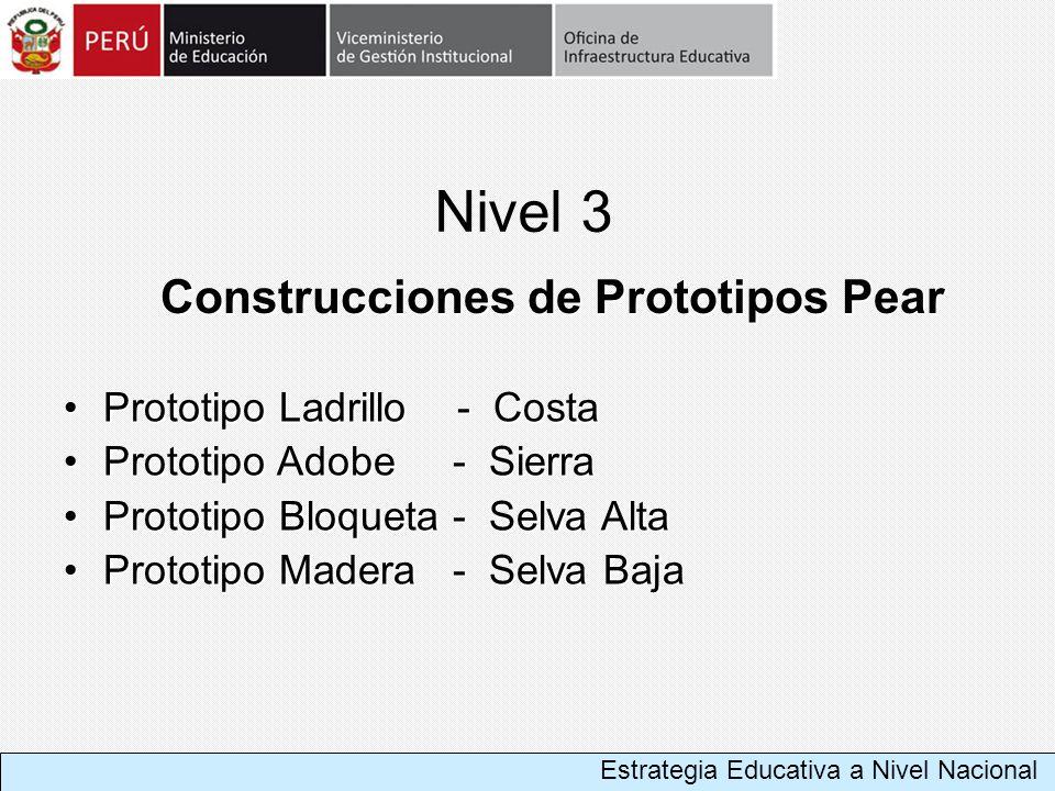Nivel 3 Construcciones de Prototipos Pear Prototipo Ladrillo - CostaPrototipo Ladrillo - Costa Prototipo Adobe - SierraPrototipo Adobe - Sierra Protot