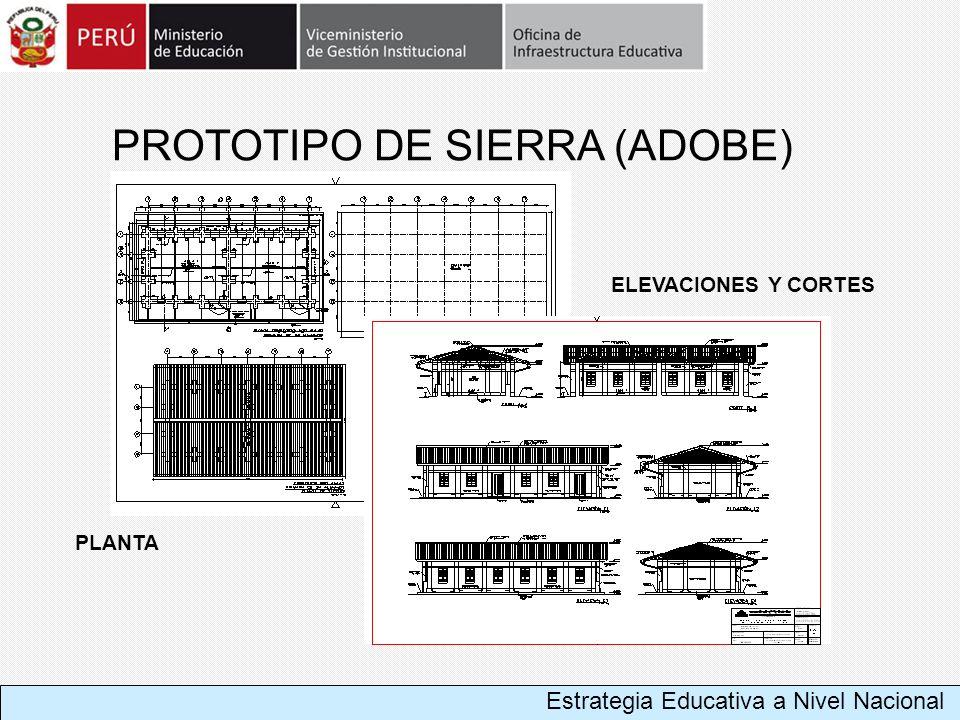 PROTOTIPO DE SIERRA (ADOBE) PLANTA ELEVACIONES Y CORTES Estrategia Educativa a Nivel Nacional