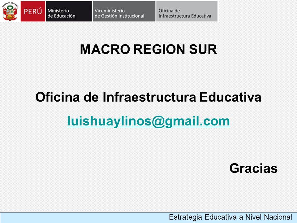 MACRO REGION SUR Oficina de Infraestructura Educativa luishuaylinos@gmail.com Gracias Estrategia Educativa a Nivel Nacional