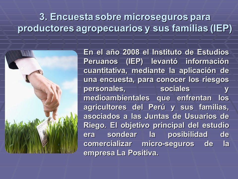 3. Encuesta sobre microseguros para productores agropecuarios y sus familias (IEP) En el año 2008 el Instituto de Estudios Peruanos (IEP) levantó info