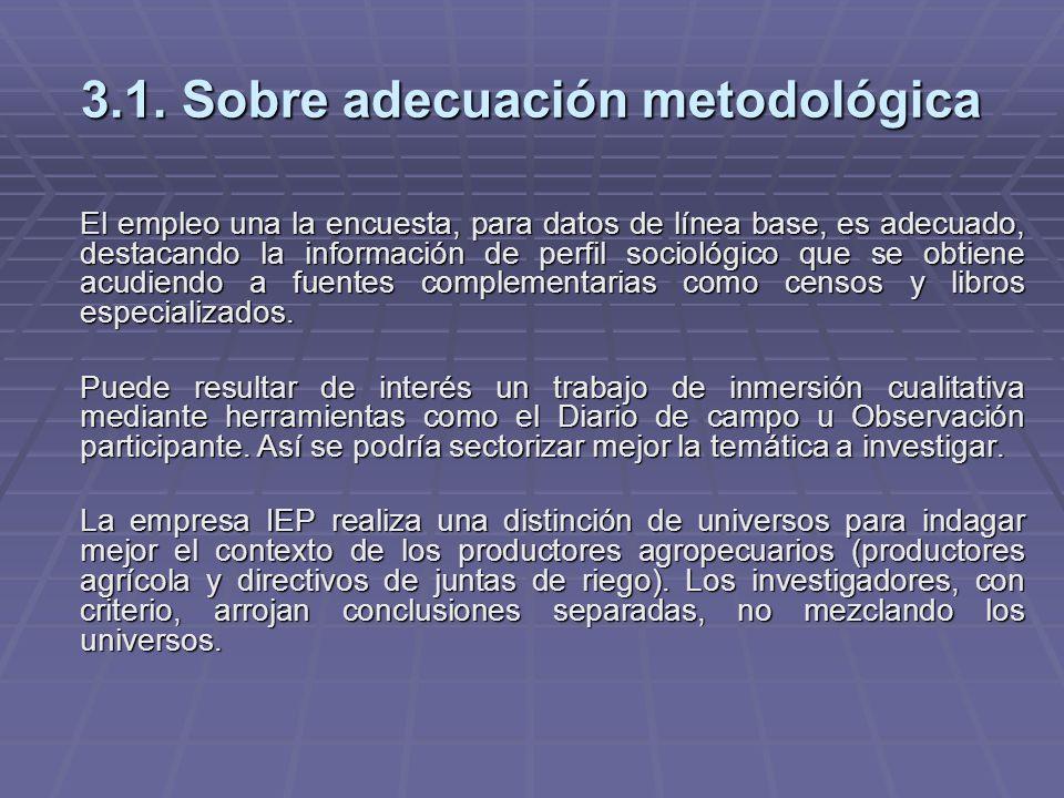 3.1. Sobre adecuación metodológica El empleo una la encuesta, para datos de línea base, es adecuado, destacando la información de perfil sociológico q