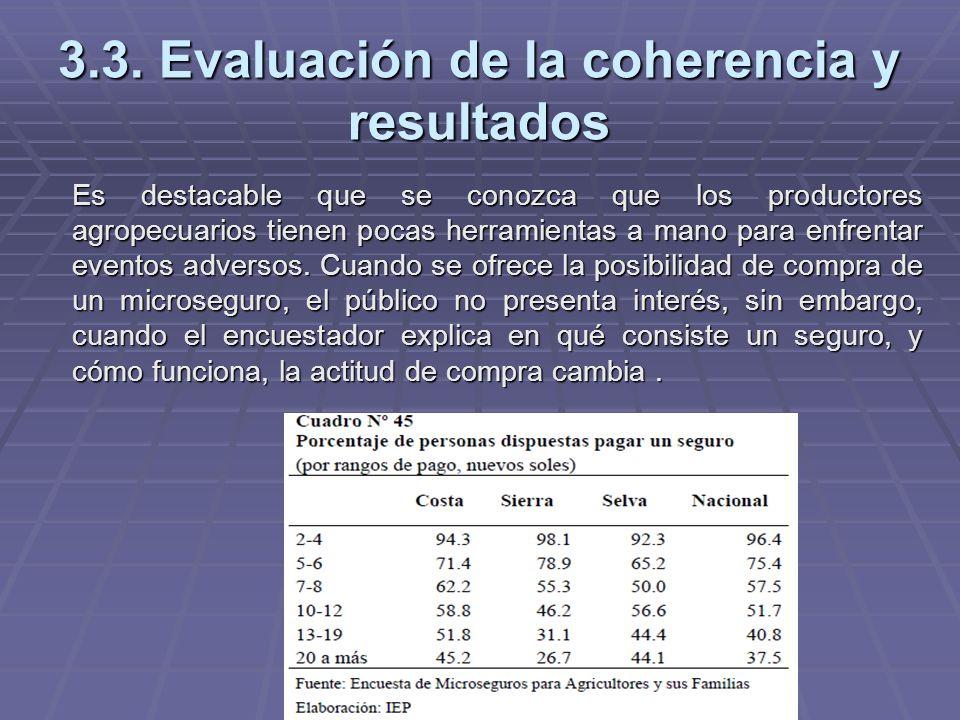 3.3. Evaluación de la coherencia y resultados Es destacable que se conozca que los productores agropecuarios tienen pocas herramientas a mano para enf