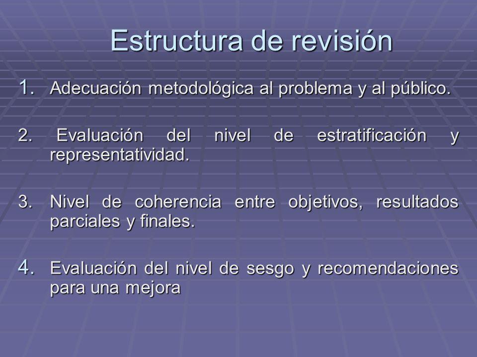 Estructura de revisión 1. Adecuación metodológica al problema y al público.