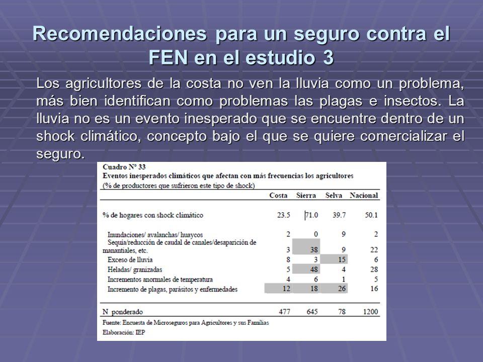 Recomendaciones para un seguro contra el FEN en el estudio 3 Los agricultores de la costa no ven la lluvia como un problema, más bien identifican como problemas las plagas e insectos.