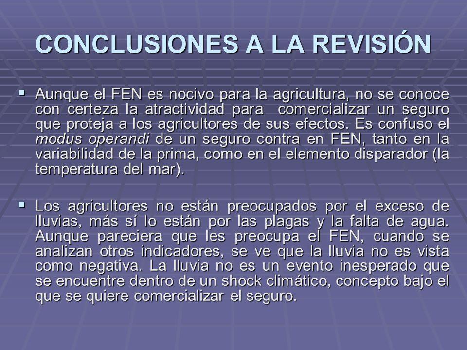 CONCLUSIONES A LA REVISIÓN Aunque el FEN es nocivo para la agricultura, no se conoce con certeza la atractividad para comercializar un seguro que proteja a los agricultores de sus efectos.