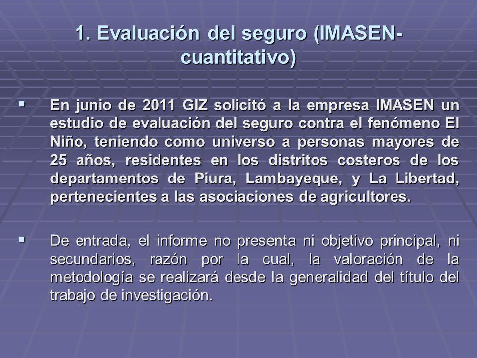 1. Evaluación del seguro (IMASEN- cuantitativo) En junio de 2011 GIZ solicitó a la empresa IMASEN un estudio de evaluación del seguro contra el fenóme