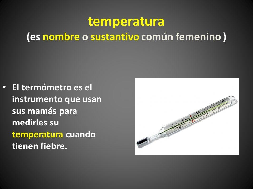 temperatura (es nombre o sustantivo común femenino ) El termómetro es el instrumento que usan sus mamás para medirles su temperatura cuando tienen fie