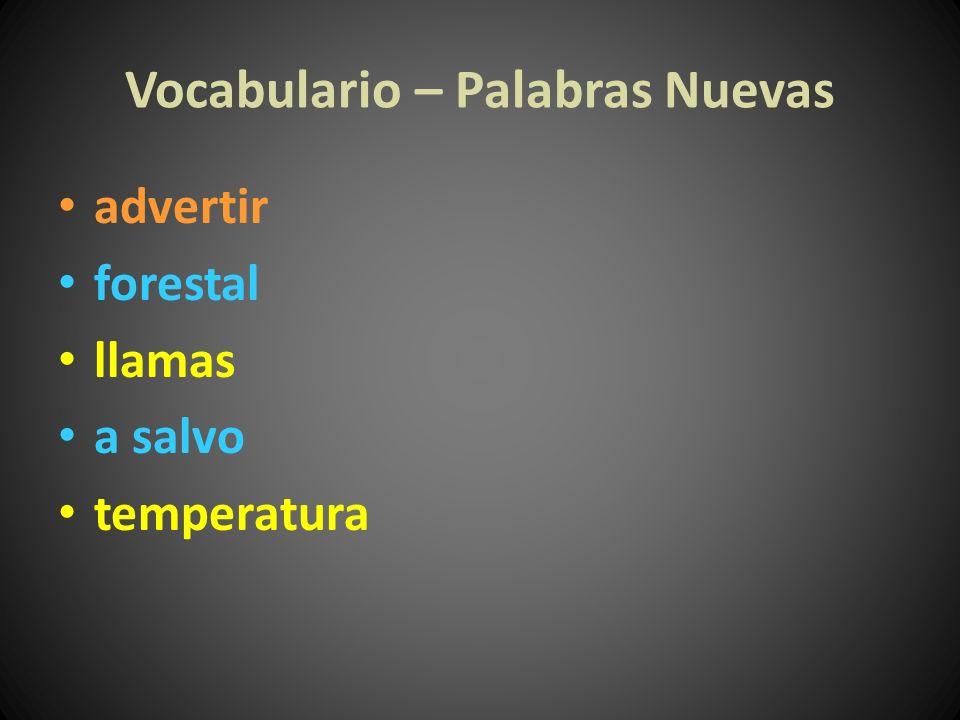 Vocabulario – Palabras Nuevas advertir forestal llamas a salvo temperatura