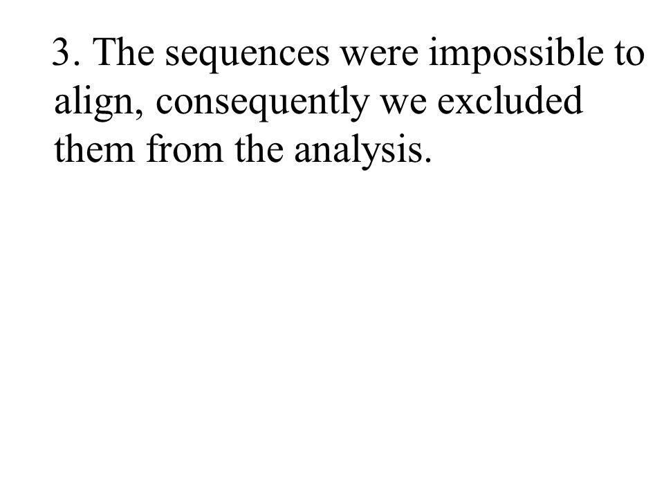 3. The sequences were impossible to align, consequently we excluded them from the analysis.