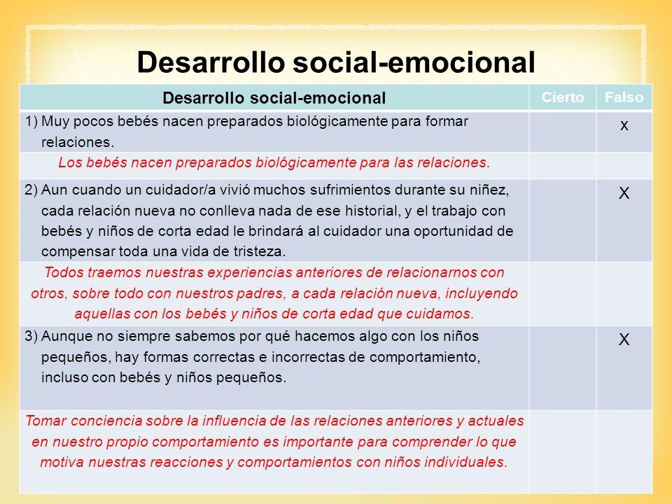 Desarrollo social-emocional CiertoFalso 1)Muy pocos bebés nacen preparados biológicamente para formar relaciones. x Los bebés nacen preparados biológi
