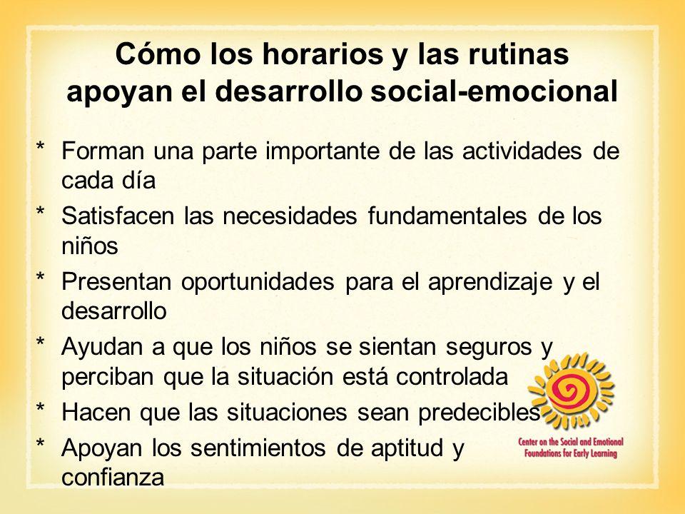 Cómo los horarios y las rutinas apoyan el desarrollo social-emocional *Forman una parte importante de las actividades de cada día *Satisfacen las nece