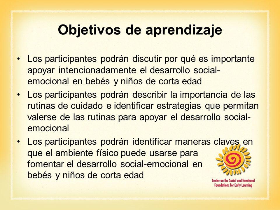 Objetivos de aprendizaje Los participantes podrán discutir por qué es importante apoyar intencionadamente el desarrollo social- emocional en bebés y n