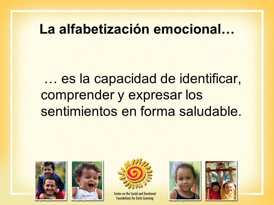 La alfabetización emocional… … es la capacidad de identificar, comprender y expresar los sentimientos en forma saludable.