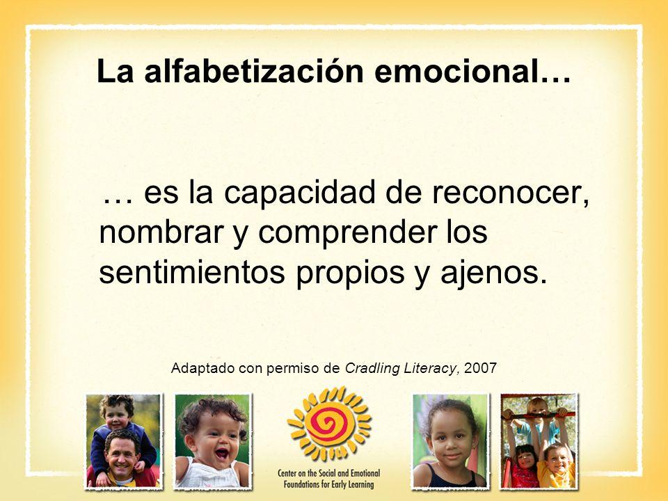La alfabetización emocional… … es la capacidad de reconocer, nombrar y comprender los sentimientos propios y ajenos. Adaptado con permiso de Cradling