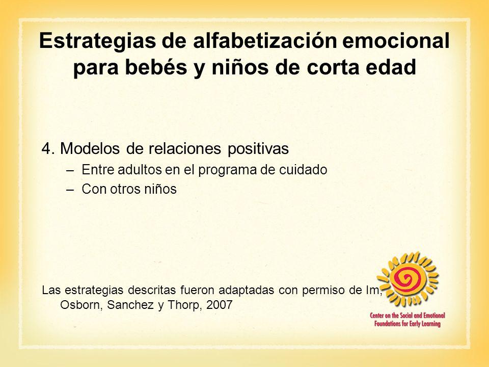 Estrategias de alfabetización emocional para bebés y niños de corta edad 4.Modelos de relaciones positivas –Entre adultos en el programa de cuidado –C