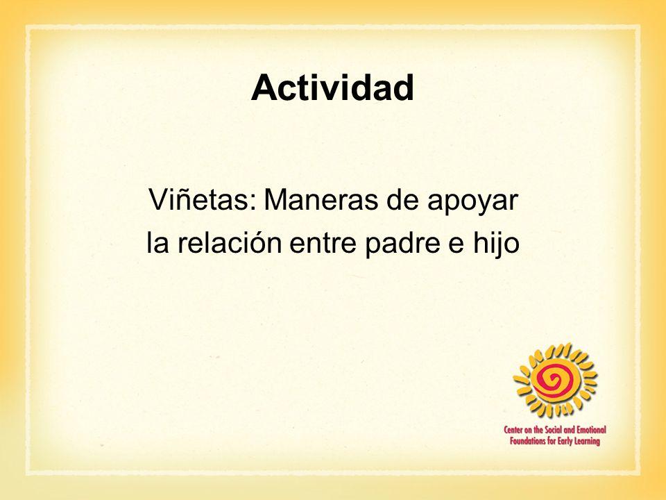 Actividad Viñetas: Maneras de apoyar la relación entre padre e hijo