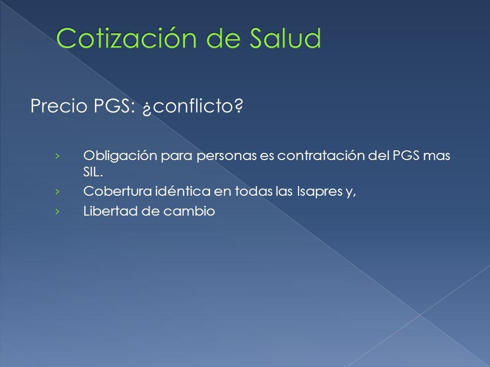 Precio PGS: ¿conflicto. Obligación para personas es contratación del PGS mas SIL.