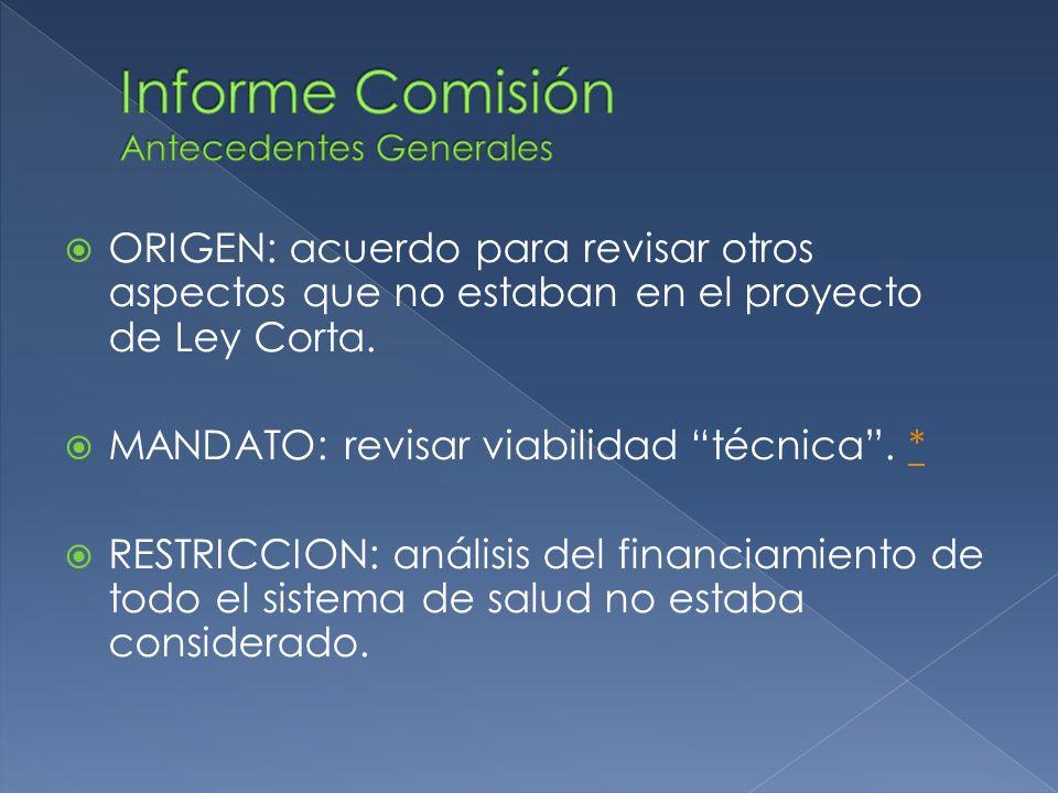 ORIGEN: acuerdo para revisar otros aspectos que no estaban en el proyecto de Ley Corta. MANDATO: revisar viabilidad técnica. ** RESTRICCION: análisis