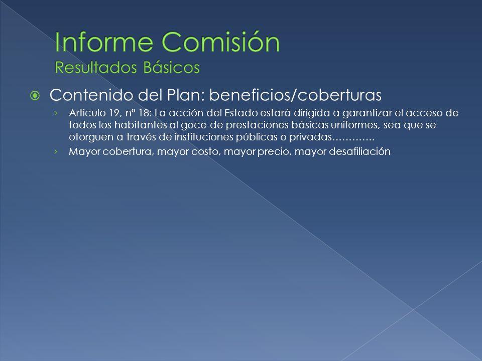 Contenido del Plan: beneficios/coberturas Articulo 19, nº 18: La acción del Estado estará dirigida a garantizar el acceso de todos los habitantes al g