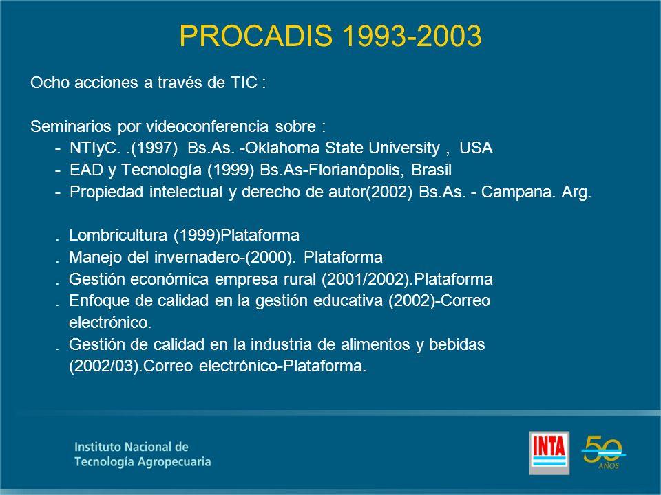PROCADIS 1993-2003 Ocho acciones a través de TIC : Seminarios por videoconferencia sobre : - NTIyC..(1997) Bs.As.