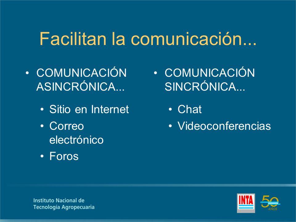 Facilitan la comunicación... COMUNICACIÓN ASINCRÓNICA...