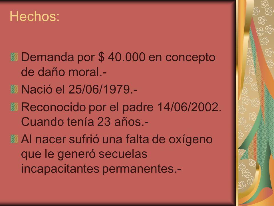Hechos: Demanda por $ 40.000 en concepto de daño moral.- Nació el 25/06/1979.- Reconocido por el padre 14/06/2002. Cuando tenía 23 años.- Al nacer suf