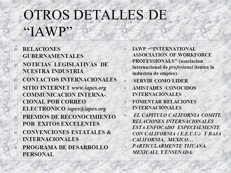 OFICIALES DE IAWP n SORY HINTON JORDAN, PRESIDENTA, CAPITULO INTERNACIONAL, shinton@edd.ca.gov KEN COCHRAN, EX-PRESIDENTE kenneth.cochran@dol.state.ga.us n RAY KLING, DIRECTOR, RELACIONES INTERNACIONALES, CAPITULO INTERNACIONAL Rakli3@aol>com DEBORAH SNIDER, EX-DIRECTORA deborahsnider@sympatico.ca n VERLETTA VAL MOELLER, PRESIDENTE, CAPITULO CALIFORNIA, retire2k07@aol.com NANETTE CARDAMENIS BOWMAN, EX-PRESIDETE nanette@earthlink.net n *VINNY CLARKE, VICE-PRESIDENTE, PRIMERA, CAPITULO CALIFORNIA, vclarke@edd.ca.gov RON CROSS, VICE-PRESIDENTE SEGUNDO Voyger777@aol.com n *JEAN BERRY, DIRECTORA, COMITE EDUCA-CIONAL, CAPITULO CALIFORNIA berrygemini@aol.com n *MARIA ELENA CORONADO, CO-DIRECTORA, COMITE RELACIONES INTERNACIONALES, CAPITULO CALIFORNIA nenacoronado@aol.com *MARIA CUQUI GONZALEZ, CO-DIRECTORA j-perez@msn.com *MARIO POSADA, EX-DIRECTOR marioposada@hotmail.com n ROLLIE ARNOLD, PRESIDENT, CAPITULO SAN DIEGO PUERTO DEL SOL rarnold@edd.ca.gov n *comprenden Espanol