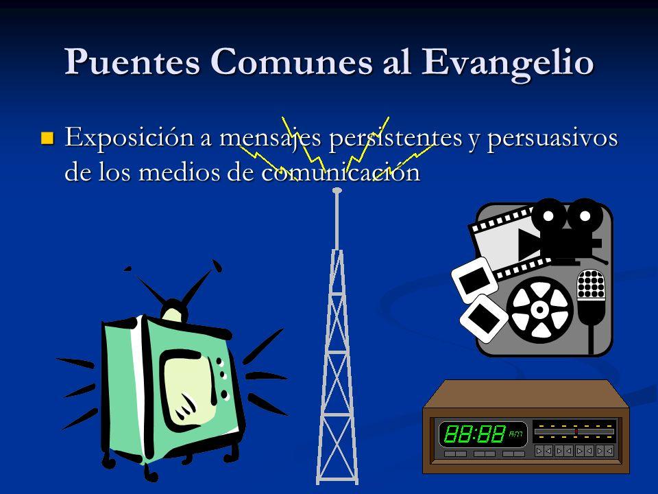 Puentes Comunes al Evangelio Exposición a mensajes persistentes y persuasivos de los medios de comunicación Exposición a mensajes persistentes y persuasivos de los medios de comunicación