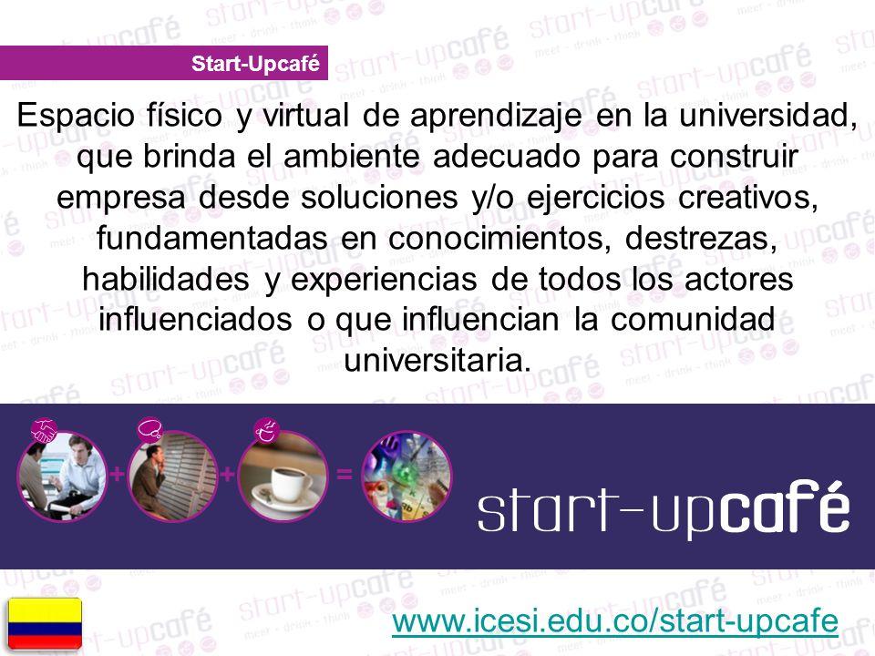 Start-Upcafé + += Espacio físico y virtual de aprendizaje en la universidad, que brinda el ambiente adecuado para construir empresa desde soluciones y/o ejercicios creativos, fundamentadas en conocimientos, destrezas, habilidades y experiencias de todos los actores influenciados o que influencian la comunidad universitaria.