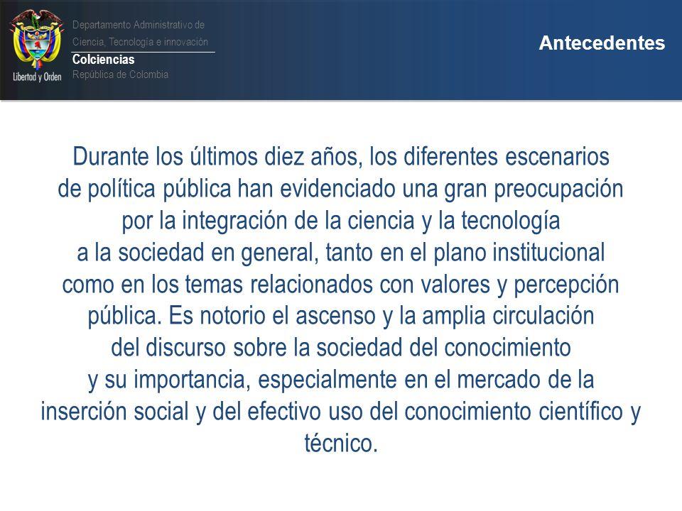 Departamento Administrativo de Ciencia, Tecnología e innovación Colciencias República de Colombia Diagnóstico