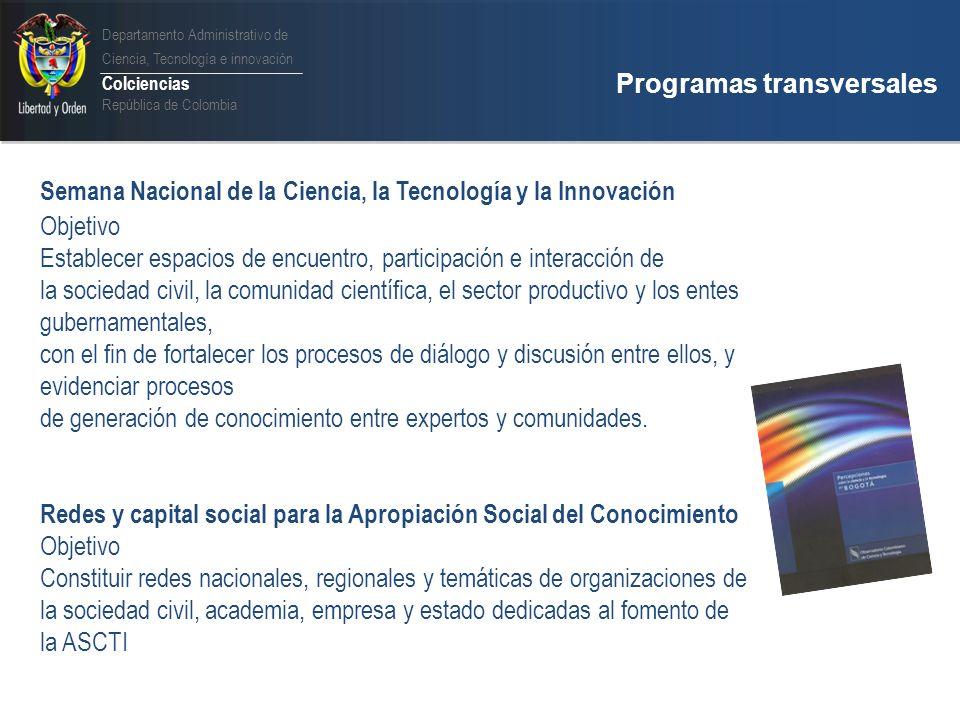 Departamento Administrativo de Ciencia, Tecnología e innovación Colciencias República de Colombia Institucionalidad y actores que promueven la ASCTI