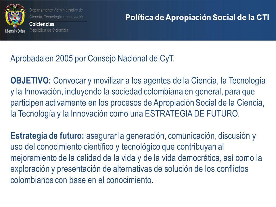 Departamento Administrativo de Ciencia, Tecnología e innovación Colciencias República de Colombia Ley 1286 de 2009 y la Apropiación Social del Conocimiento ARTÍCULO 2.