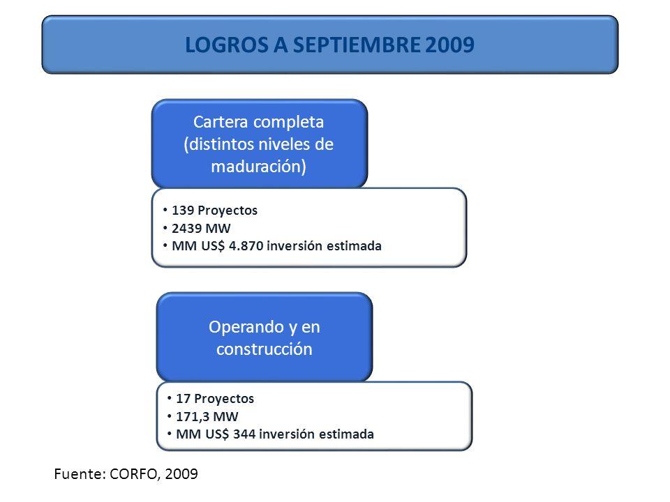 LOGROS A SEPTIEMBRE 2009 Cartera completa (distintos niveles de maduración) Operando y en construcción 139 Proyectos 2439 MW MM US$ 4.870 inversión estimada 17 Proyectos 171,3 MW MM US$ 344 inversión estimada Fuente: CORFO, 2009