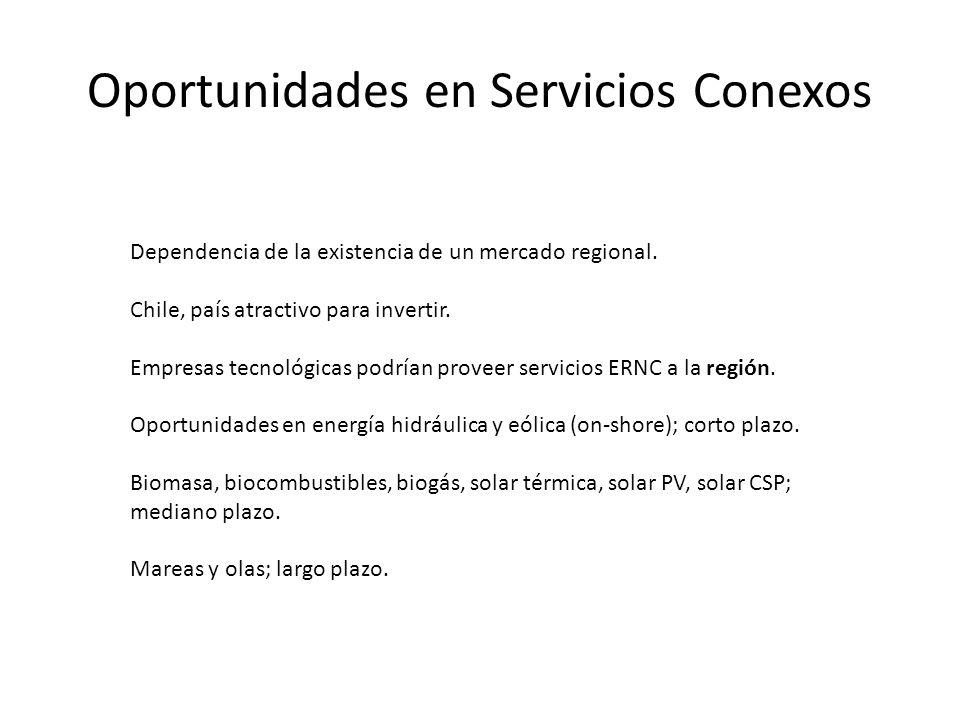Oportunidades en Servicios Conexos Dependencia de la existencia de un mercado regional.