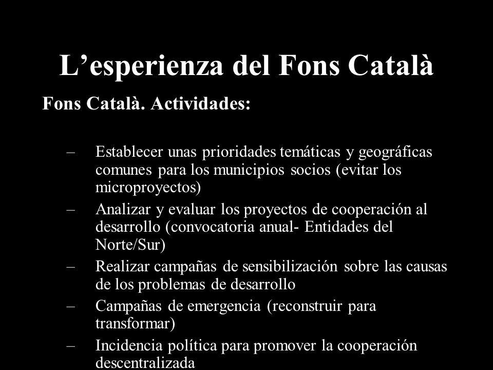 Lesperienza del Fons Català Fons Català.