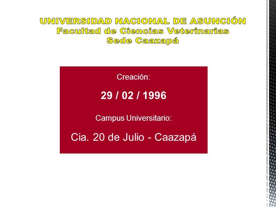 La Facultad de Ciencias Veterinarias de la Universidad Nacional de Asunción – Sede Caazapá se fundó el 29 de febrero del año 1996 e inaugurado el 07 de mayo del año 1996 con la presencia de autoridades nacionales y de la UNA, ese mismo año se inicio el Curso Preparatorio de Ingreso en el mes de Noviembre.