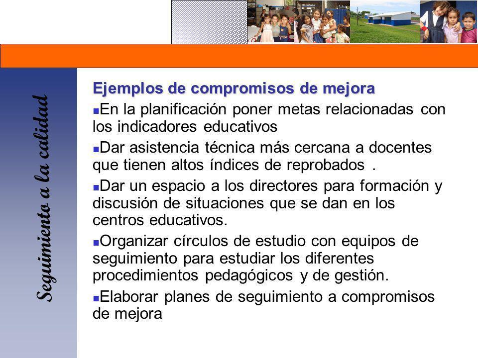 Seguimiento a la calidad Ejemplos de compromisos de mejora En la planificación poner metas relacionadas con los indicadores educativos Dar asistencia