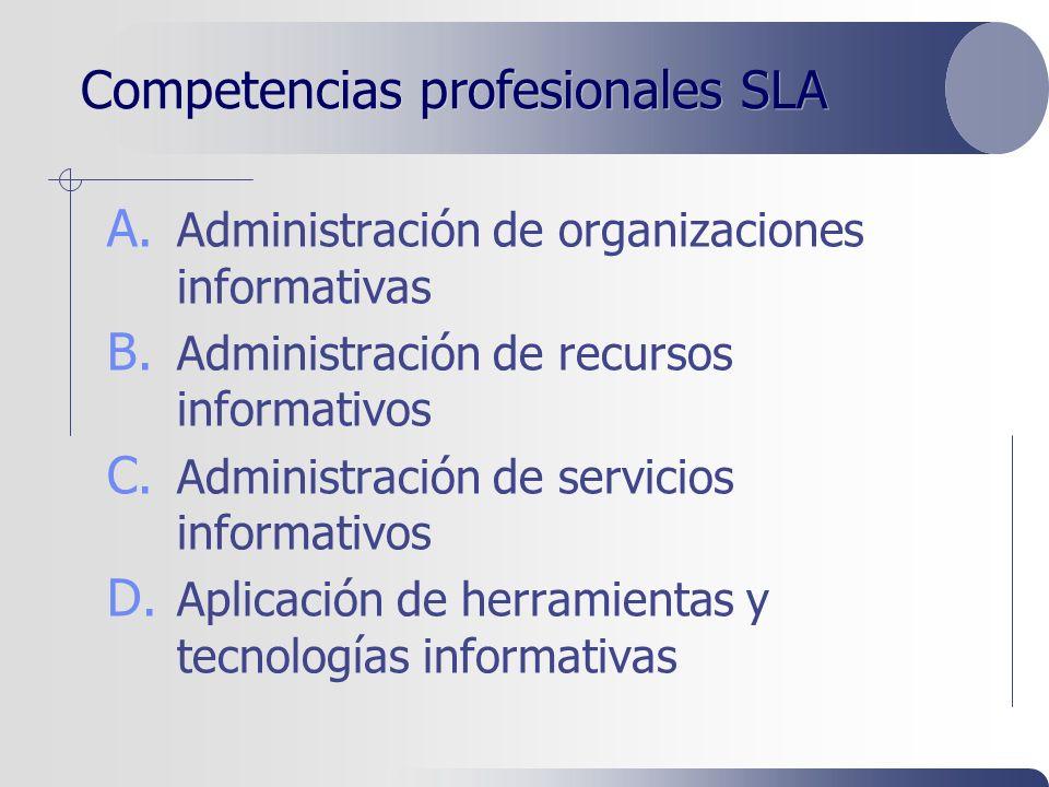 Competencias profesionales SLA A. Administración de organizaciones informativas B.