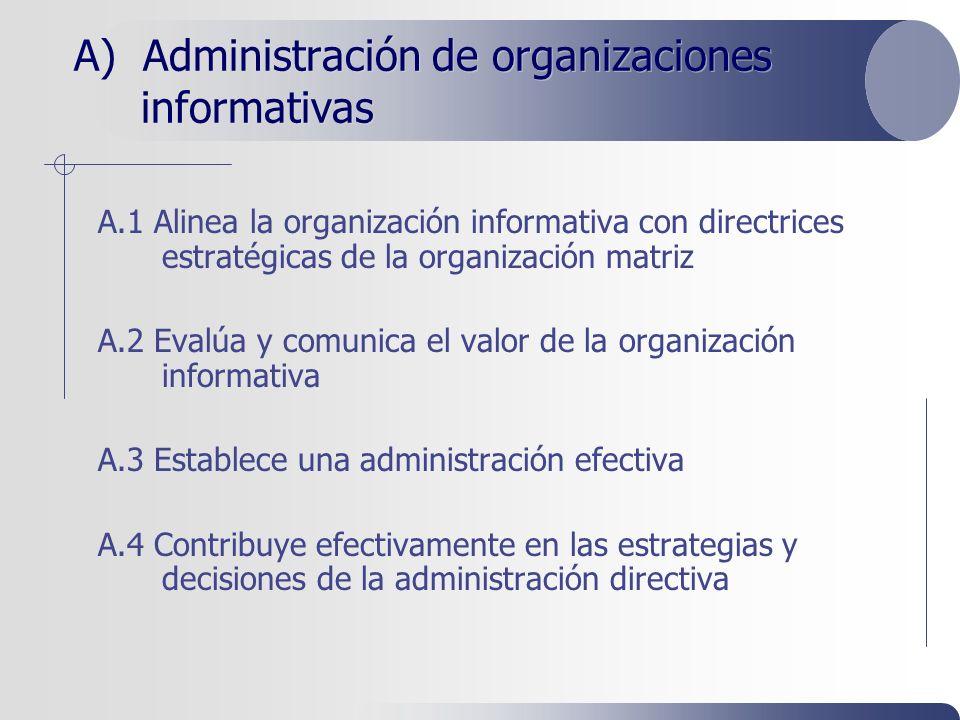 A) Administración de organizaciones informativas A.1 Alinea la organización informativa con directrices estratégicas de la organización matriz A.2 Evalúa y comunica el valor de la organización informativa A.3 Establece una administración efectiva A.4 Contribuye efectivamente en las estrategias y decisiones de la administración directiva
