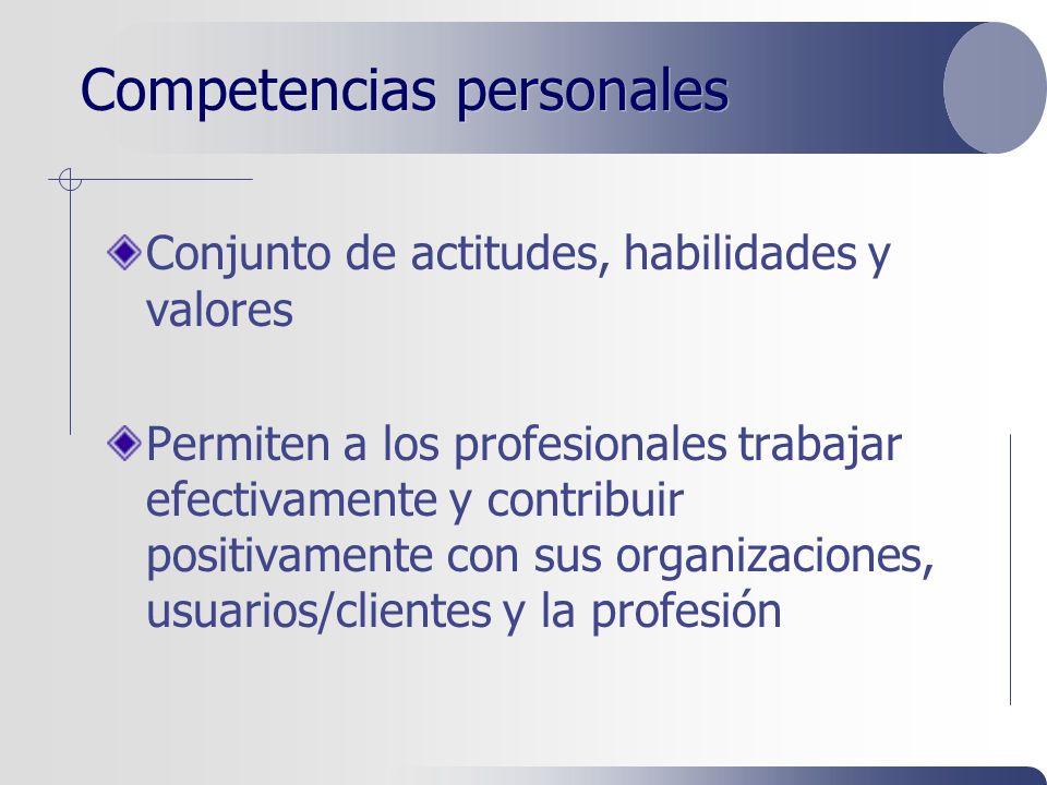 Competencias personales Conjunto de actitudes, habilidades y valores Permiten a los profesionales trabajar efectivamente y contribuir positivamente con sus organizaciones, usuarios/clientes y la profesión