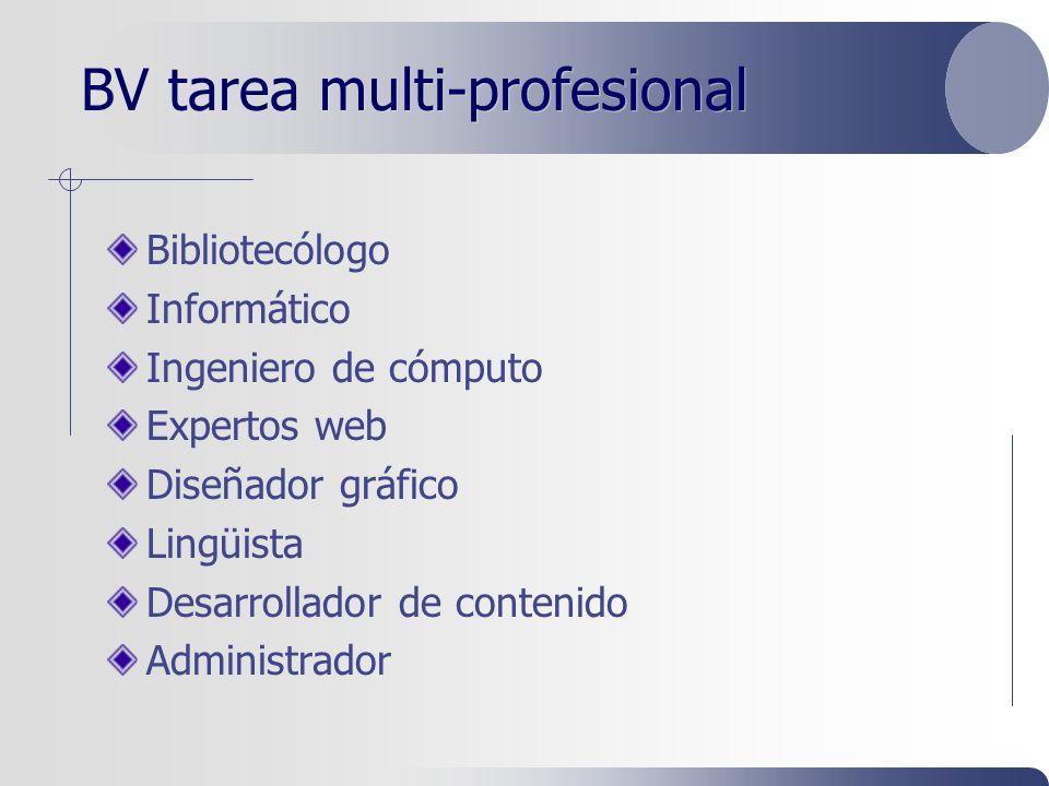 BV tarea multi-profesional Bibliotecólogo Informático Ingeniero de cómputo Expertos web Diseñador gráfico Lingüista Desarrollador de contenido Administrador