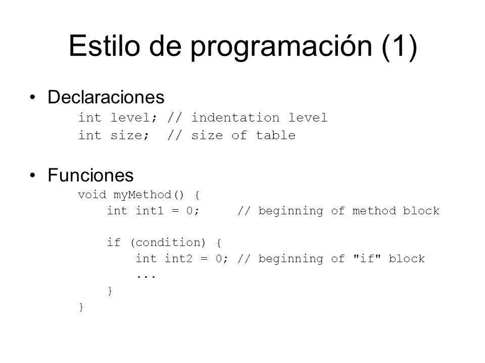 Estilo de programación (1) Declaraciones int level; // indentation level int size; // size of table Funciones void myMethod() { int int1 = 0; // begin