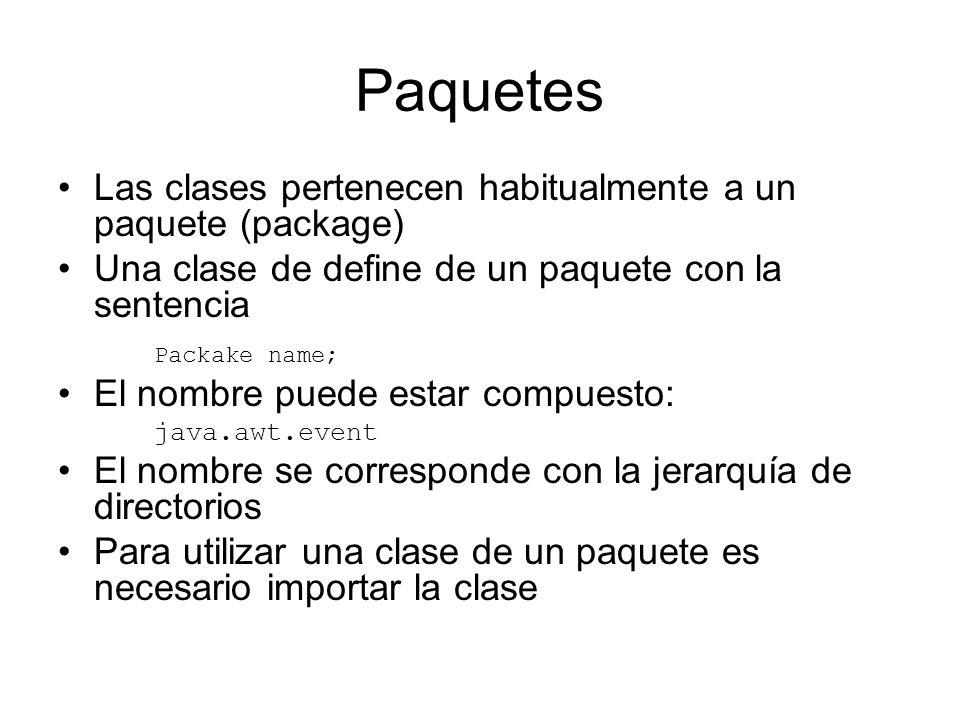Paquetes Las clases pertenecen habitualmente a un paquete (package) Una clase de define de un paquete con la sentencia Packake name; El nombre puede e