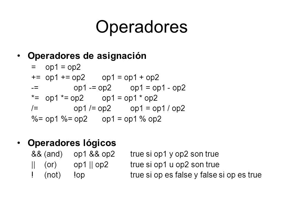 Operadores Operadores de asignación = op1 = op2 += op1 += op2 op1 = op1 + op2 -= op1 -= op2 op1 = op1 - op2 *= op1 *= op2 op1 = op1 * op2 /= op1 /= op
