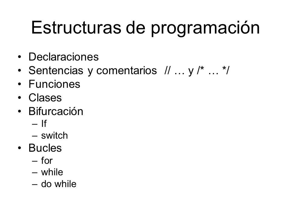 Estructuras de programación Declaraciones Sentencias y comentarios // … y /* … */ Funciones Clases Bifurcación –If –switch Bucles –for –while –do whil
