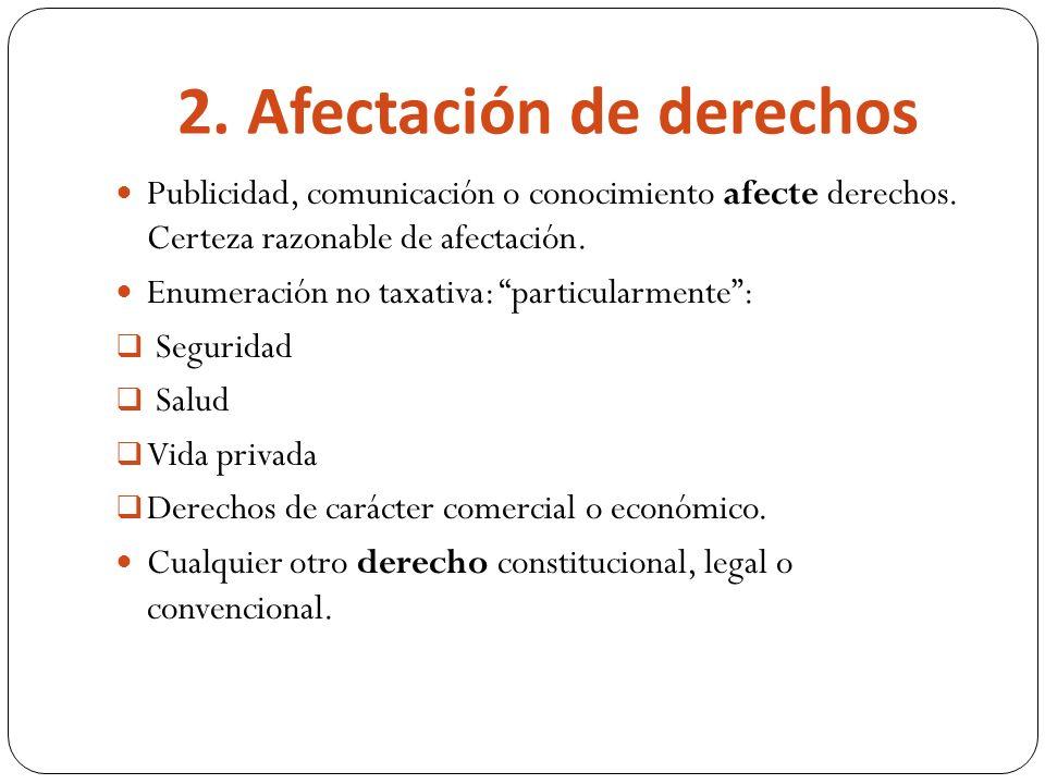 2. Afectación de derechos Publicidad, comunicación o conocimiento afecte derechos.