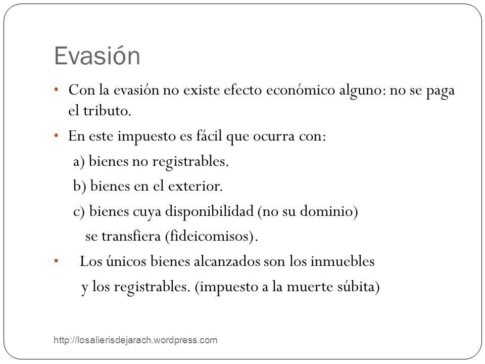 Evasión http://losalierisdejarach.wordpress.com Con la evasión no existe efecto económico alguno: no se paga el tributo. En este impuesto es fácil que